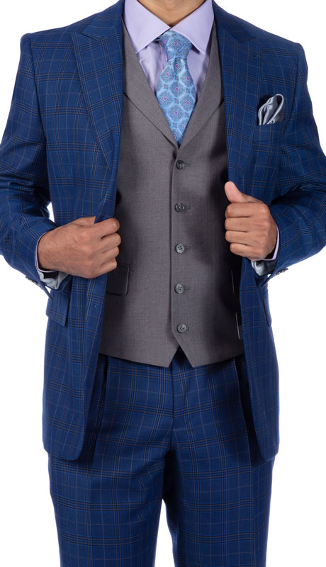 Steve Harvey 219709-BP ( 3pc Vested Suit Wth Grey Solid Vest, Super 140's )