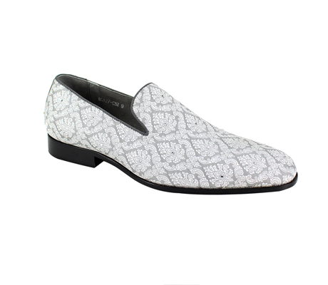SL0052-Silver ( Jacquard Fabric Slip On With Crystal Embellishments )