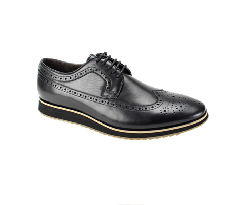SL0047-Black ( Genuine Handmade Leather Shoe With Perforated Design And Comfort Sole )