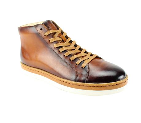 SL0044-Tan ( Genuine Handmade Leather High Top Casual Shoe )