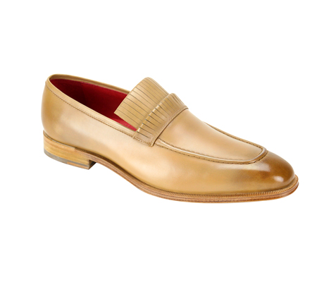 SL0003-Tan ( Genuine Handmade Leather Slip On With Elegant Detail At Top )