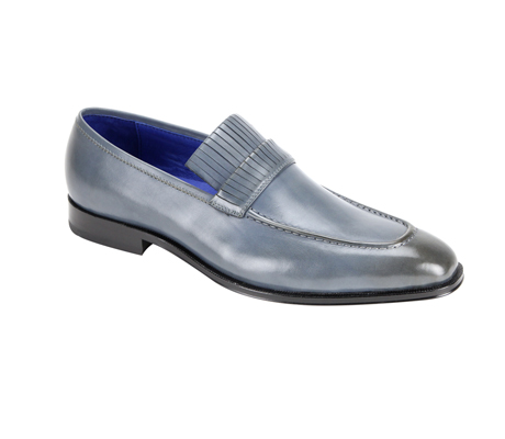SL0003-Gray ( Genuine Handmade Leather Slip On With Elegant Detail At Top )