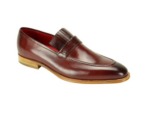 SL0003-Burgundy ( Genuine Handmade Leather Slip On With Elegant Detail At Top )