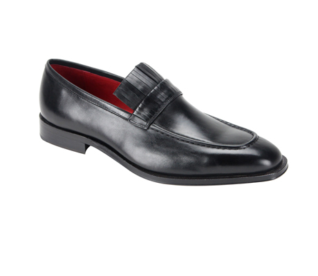 SL0003-Black ( Genuine Handmade Leather Slip On With Elegant Detail At Top )