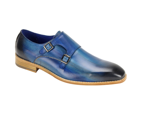 SL0002-Blue ( Burnished Genuine Handmade Leather Shoe With Double Buckle Monk Strap )