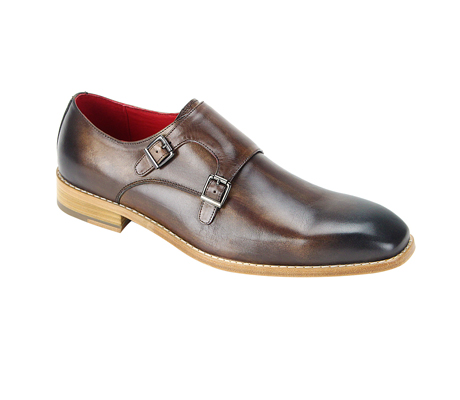 SL0002-Brown ( Burnished Genuine Handmade Leather Shoe With Double Buckle Monk Strap )