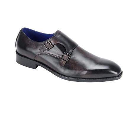 SL0002-Black ( Burnished Genuine Handmade Leather Shoe With Double Buckle Monk Strap )
