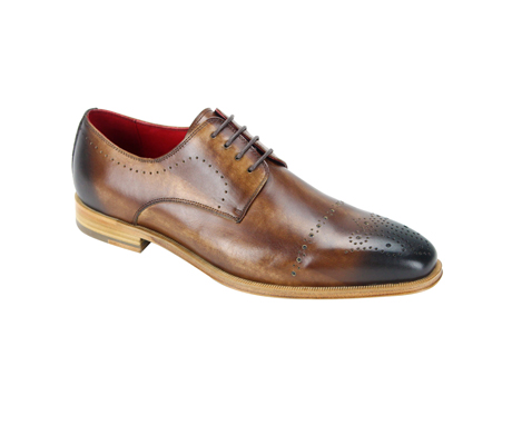 SL0001-Tan ( Burnished Genuine Handmade Leather Lace Up Shoe With Perforated Design )
