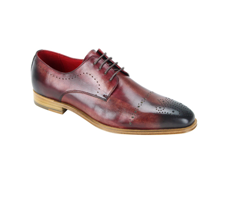SL0001-Sangria ( Burnished Genuine Handmade Leather Lace Up Shoe With Perforated Design )