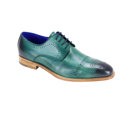 SL0001-Green ( Burnished Genuine Handmade Leather Lace Up Shoe With Perforated Design )