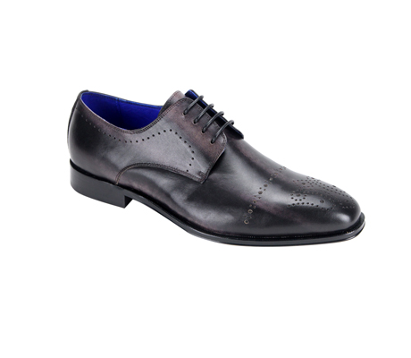 SL0001-Black ( Burnished Genuine Handmade Leather Lace Up Shoe With Perforated Design )