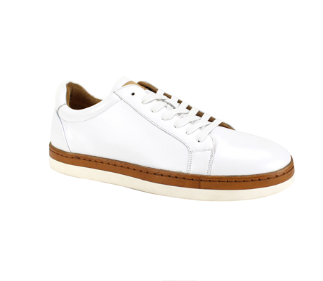 SL0043-White ( Genuine Handmade Leather Low Top Casual Shoe )