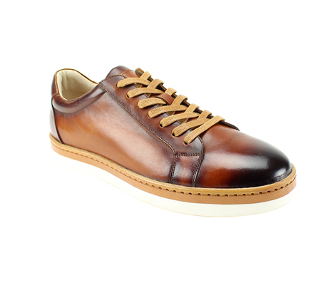 SL0043-Tan ( Genuine Handmade Leather Low Top Casual Shoe )