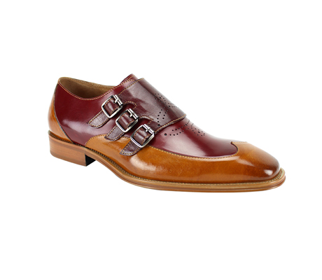 SL0042-BT  ( Genuine Handmade Leather With Wing Tip Toe, Triple Buckle Monk Strap, And Perforated Medallion Design )