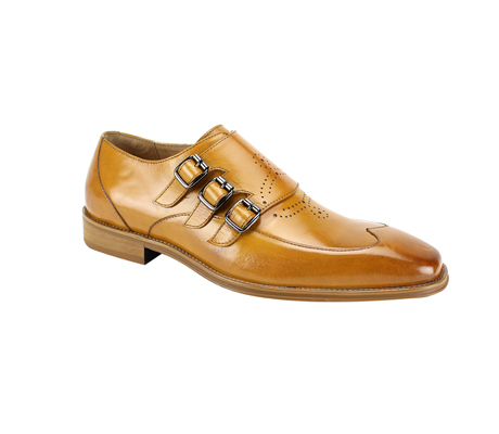 SL0042-Scotch  ( Genuine Handmade Leather With Wing Tip Toe, Triple Buckle Monk Strap, And Perforated Medallion Design )