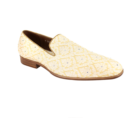 SL0052-Cream ( Jacquard Fabric Slip On With Crystal Embellishments )