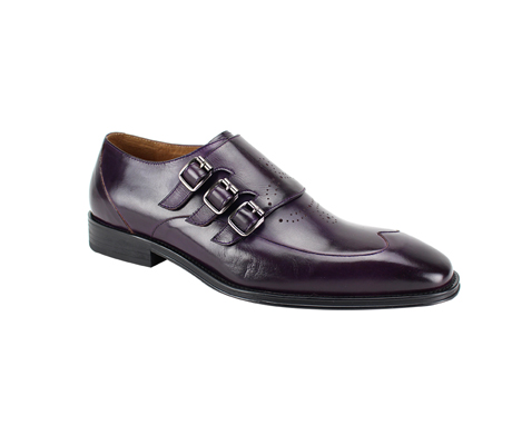 SL0042-Purple  ( Genuine Handmade Leather With Wing Tip Toe, Triple Buckle Monk Strap, And Perforated Medallion Design )