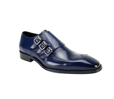 SL0042-Navy  ( Genuine Handmade Leather With Wing Tip Toe, Triple Buckle Monk Strap, And Perforated Medallion Design )