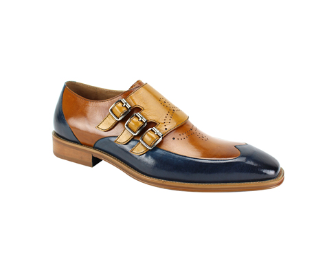 SL0042-Blue Tan ( Genuine Handmade Leather With Wing Tip Toe, Triple Buckle Monk Strap, And Perforated Medallion Design )