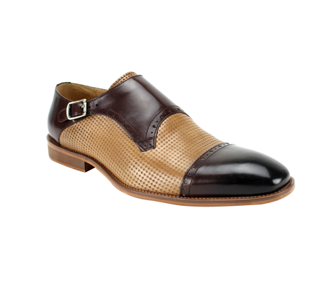 SL0041-BRN TAN ( Genuine Handmade Leather With  Monk Strap, And Perforated Middle )