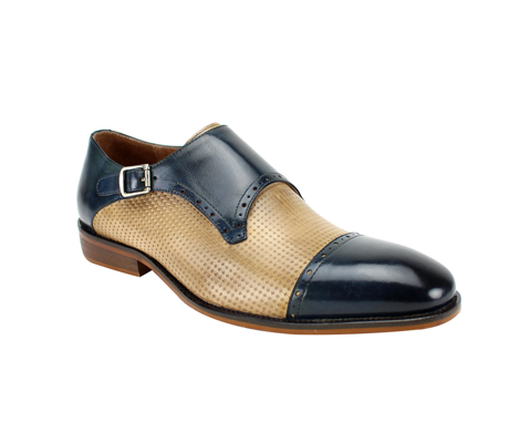 SL0041-BLUE TAN ( Genuine Handmade Leather With  Monk Strap, And Perforated Middle )
