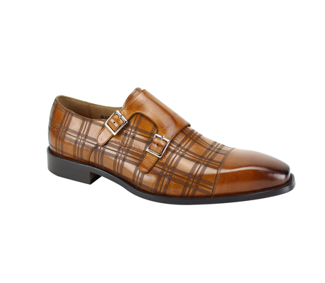SL0039-Tan ( Genuine Handmade Leather With A Double Buckle Monk Strap And Plaid Pattern Engravement )