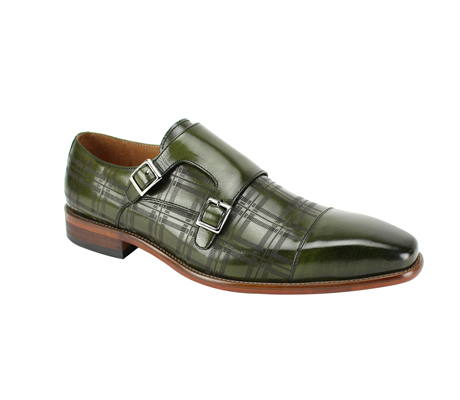 SL0039-Olive ( Genuine Handmade Leather With A Double Buckle Monk Strap And Plaid Pattern Engravement )
