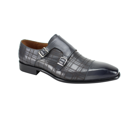 SL0039-Gray ( Genuine Handmade Leather With A Double Buckle Monk Strap And Plaid Pattern Engravement )