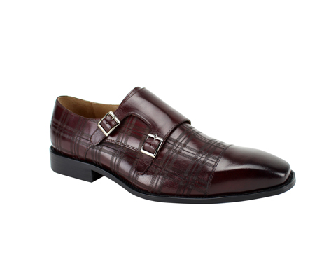SL0039-Burgundy ( Genuine Handmade Leather With A Double Buckle Monk Strap And Plaid Pattern Engravement )