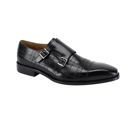SL0039-Black ( Genuine Handmade Leather With A Double Buckle Monk Strap And Plaid Pattern Engravement )
