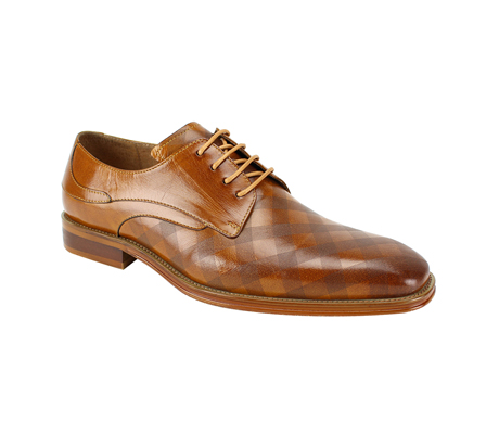 SL0038-Tan ( Genuine Handmade Leather With Plaid Pattern Engraving On Toe )