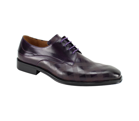 SL0038-Purple ( Genuine Handmade Leather With Plaid Pattern Engraving On Toe )