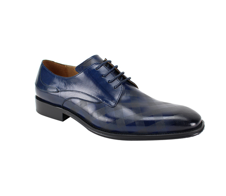 SL0038-Navy ( Genuine Handmade Leather With Plaid Pattern Engraving On Toe )
