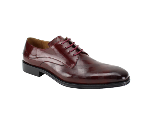 SL0038-Burgundy ( Genuine Handmade Leather With Plaid Pattern Engraving On Toe )