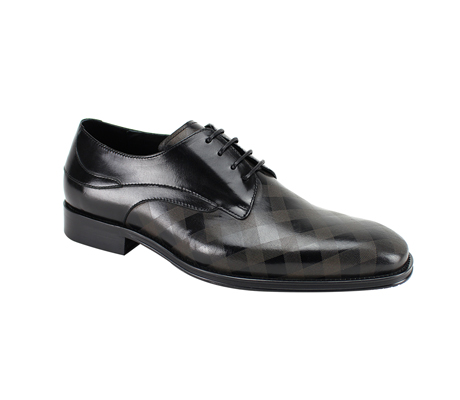 SL0038-Black ( Genuine Handmade Leather With Plaid Pattern Engraving On Toe )