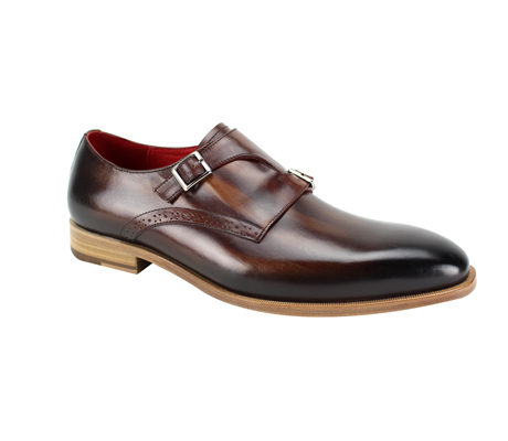 SL0032-Walnut ( Genuine Handmade Leather Slip On With Single Buckle Monk Strap )