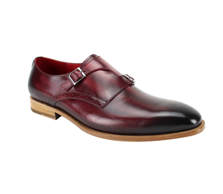 SL0032-Sangria ( Genuine Handmade Leather Slip On With Single Buckle Monk Strap )