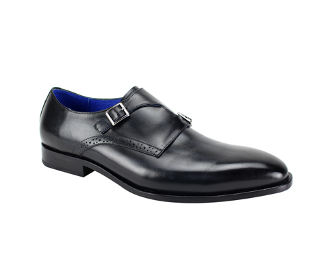SL0032-Coal ( Genuine Handmade Leather Slip On With Single Buckle Monk Strap )