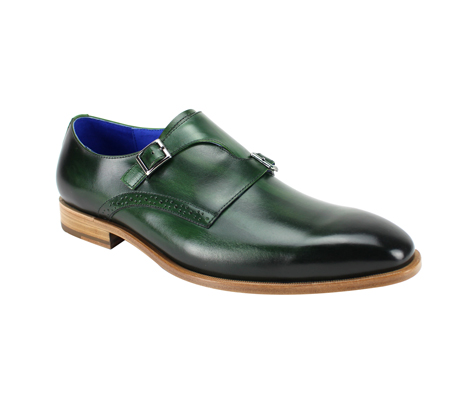 SL0032-Alpine Green ( Genuine Handmade Leather Slip On With Single Buckle Monk Strap )