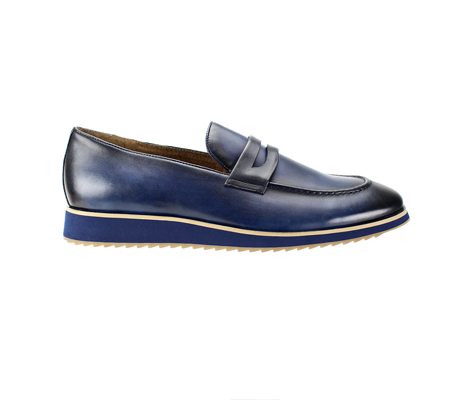 SL0048-Navy ( Genuine Handmade Leather Slip On Shoe With Comfort Sole )