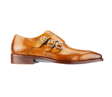 SL0027-Tan ( Polished Genuine Handmade Leather With Monk Buckle Strap )