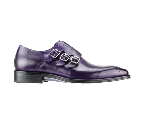 SL0027-Purple ( Polished Genuine Handmade Leather With Monk Buckle Strap )