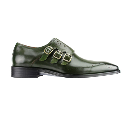 SL0027-Olive ( Polished Genuine Handmade Leather With Monk Buckle Strap )