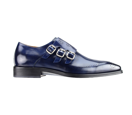 SL0027-Navy ( Polished Genuine Handmade Leather With Monk Buckle Strap )