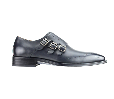 SL0027-Gray ( Polished Genuine Handmade Leather With Monk Buckle Strap )
