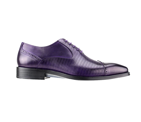 SL0018-Purple ( Genuine Handmade Leather Cap Toed Oxford With Perforated Mid Section )