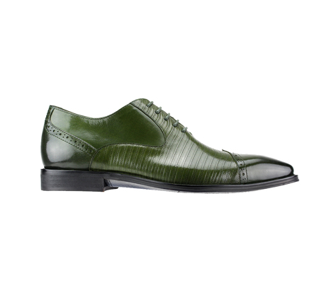 SL0018-Olive ( Genuine Handmade Leather Cap Toed Oxford With Perforated Mid Section )
