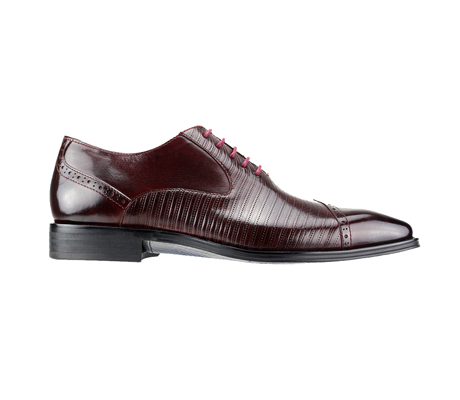 SL0018-Burgundy ( Genuine Handmade Leather Cap Toed Oxford With Perforated Mid Section )