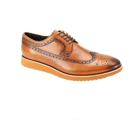 SL0047-Tan ( Genuine Handmade Leather Shoe With Perforated Design And Comfort Sole )