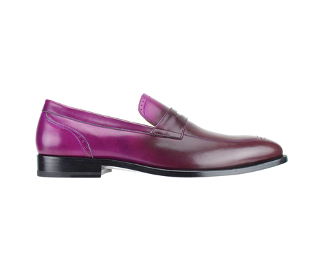 SL0016-Plum ( Burnished Genuine Handmade Leather Slip Ons With Elegant Tapered Toes )